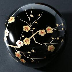 丸菓子器枝梅蒔絵(小)朱/黒