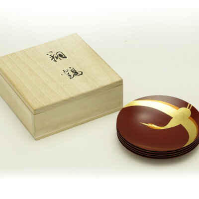 銘々皿翔鶴(5枚組:桐箱入り)送料無料