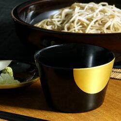蕎麦猪口(皿付)日月(朱/黒)