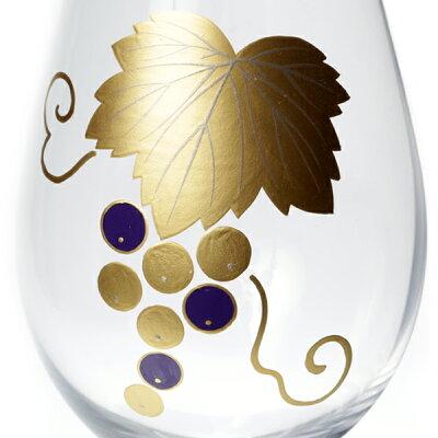 スウェーデン王室御用達クリスタルブランドOrrefors×宮内庁御用達漆器山田平安堂蒔絵シャンパングラス/ワイングラスぶどう