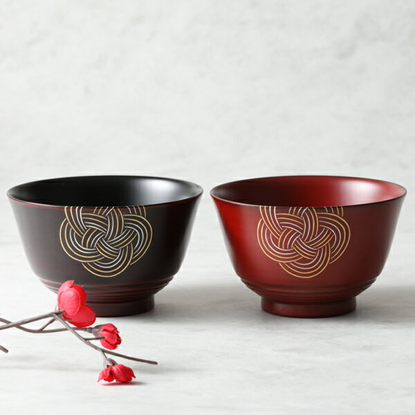 山田平安堂の漆器汁椀 夫婦椀 梅水引
