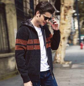 メンズカーディガン フード付きアウター ニットカーディガン 裏起毛ジップアップジャケット 裏ボア 5色 ニットジャケット シンプル 春秋冬