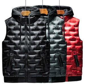 カップルお揃い綿ベスト メンズ レディース 軽量防寒 フード取り外し可能 紳士服 中綿ベスト 綿いりベスト 大きいサイズ カジュアル アウター 秋冬