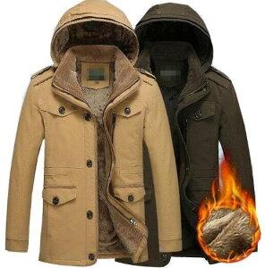 送料無料 メンズ厚手裏起毛ジャケット 5色 ミドル丈綿入ジャケット 裏起毛 ジャンパ厚ボアブルゾン ウォッシャブルミリタリーモッズコート