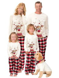 クリスマス パジャマ クリスマス鹿プリント 親子ペアルームウェア ベビー チェック柄パンツ 子供 ママ パパ 家族部屋着 長袖パジャマ上下セット 春秋tシャツ