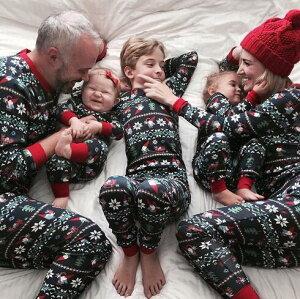 クリスマス パジャマ クリスマス元素プリント サンタクロース柄 親子ペアルームウェア ベビー 子供 ママ パパ 家族部屋着 長袖パジャマ上下セット オールインワン 春秋tシャツ