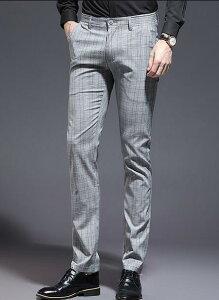 スラックス メンズ 夏 ストレッチ パンツ テーパード 洗える スリム スーツパンツ ビジネスパンツ 千鳥柄 夏薄手 チェック柄 紳士服