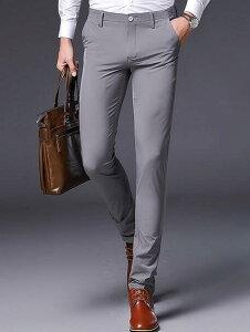 スラックス メンズ ビジネス スリム 夏薄手 細身パンツ 紳士 ビジネスローライズ メンズパンツ ビジネススーツ 無地 夏用 グレー ブラック