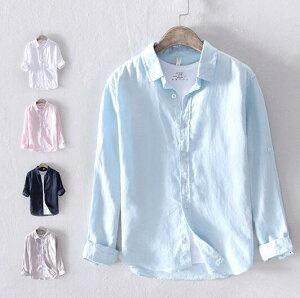 シャツ メンズ リネンシャツ 無地 長袖シャツ 綿麻 カジュアルシャツカーディガン メンズシャツ ブラウン 薄手 春 夏物