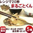 ひもの【送料無料】干物の焼き魚【まるごとくん】5種(あじ、赤かます、金目鯛、さんま、ほっけ)