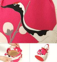巾着バッグ袴用振袖用和柄ちりめん持ち手付きレトロ丸日本製