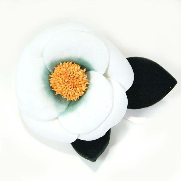和装 髪飾り 椿 白 ビロード ぽってり可憐な椿 成人式・袴・振袖にも◎日本製