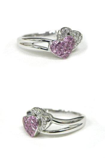 LESESSENTIELSレ・エッセンシャルK18WGピンクサファイヤ/ダイヤモンドハートモチーフリング