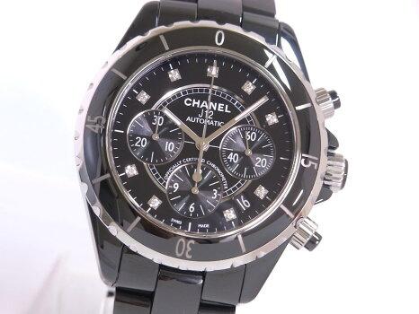 【美品】CHANELシャネルH2419J12クロノグラフSSx黒セラミック9Pダイヤモンド黒文字盤自動巻き【中古】