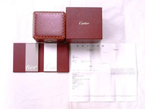 【美品】CartierカルティエWT000450デクラレーションK18WG/チタンx革ダイヤ入りシルバー文字盤クォーツ【中古】