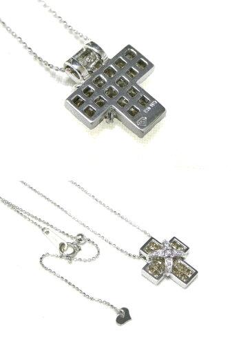 LESESSENTIELSレ・エッセンシャルK18WGブラウンダイヤクロスモチーフペンダント付きネックレス