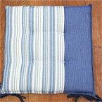 キョーエー 先染め綿シートクッション しじら織り 涼 40×40cm BL