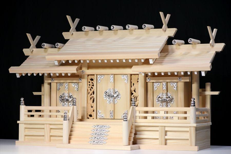 屋根違い■銀風三社■鳳凰の彫刻■特大型 幅80cm■東濃ひのき 神棚:神棚・神具・仏具 やまこう