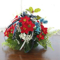 造花 ポインセチアとヒイラギのクリスマスアレンジCT触媒 クリスマスツリー