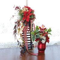 造花 サンタのクリスマスミニアレンジとポインセチアの壁掛けのセットCT触媒 クリスマスツリー