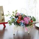 造花 子宝の誕生を願うざくろとプチローズのピアノの花器のアレンジ シルクフラワー CT触媒