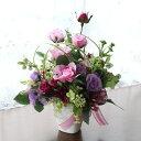 造花 上品なバラやリリーのアレンジ 敬老の日 CT触媒 シルクフラワー 造花