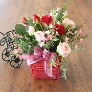 ピンクの濃淡が美しいバラとデージーのアレンジ