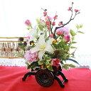 造花 梅やチューリップの花車お正月アレンジ 玄関飾り シルクフラワー CT触媒