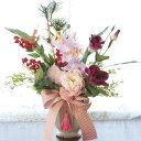 造花 南天とピオニーのお正月アレンジ しめ縄 しめ飾り 玄関飾り シルクフラワー CT触媒