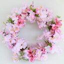 桜 造花 桜とアルストロメリアのリース さくら シルクフラワ...