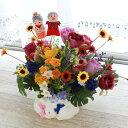 造花 シックなローズとポンポンマムのアレンジ 敬老の日 シルクフラワー CT触媒