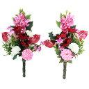 造花 仏花 シンビジウムとアネモネの花束一対 選べる2色 C...