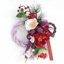 造花 新春を祝うお正月飾り 白い椿と赤い牡丹のお正月リース しめ縄 しめ飾り 玄関飾り シルクフラワー CT触媒