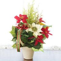 造花 ポインセチアとゴールドクレストのクリスマスアレンジCT触媒 クリスマスツリー
