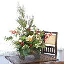 造花 若松と椿の新春のお正月アレンジ しめ縄 しめ飾り 玄関飾り シルクフラワー CT触媒