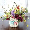 造花 クマさんの花器に飾ったミニ胡蝶蘭のアレンジ 敬老の日 シルクフラワー CT触媒