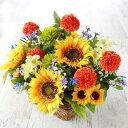 造花 ヒマワリとポンポンマムのアレンジ 造花 シルクフラワー 向日葵 ひまわり CT触媒