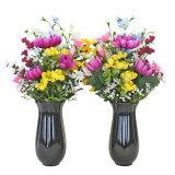 造花 仏花 デルフィニウムと菊の花束 一対 花器付き CT触媒 シルクフラワー お彼岸 お盆 お仏壇 お墓 お供え