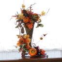 造花 ジャンボなかぼちゃたっぷりのトールタイプのハロウィンアレンジ シルクフラワー CT触媒