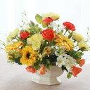 造花 ドレスローズとガーベラの元気が出るビタミンカラーのアレンジ シルクフラワー CT触媒