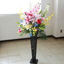 造花 カサブランカとオンシジウムのカラフルなスタンド付きアレ...