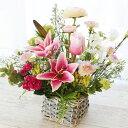 造花 ユリとチューリップやカスミ草のバスケットアレンジ 母の日 ギフト CT触媒 シルクフラワー
