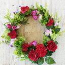 造花 デージーと赤いバラのリース 母の日 ギフト カーネーシ...