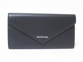 BALENCIAGAバレンシアガ長財布2つ折りレザーブラックペーパーシンロングウォレット499207美品【中古】