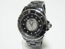 CHANELシャネルJ12メンズウォッチ腕時計自動巻きATブラックセラミックセンターダイヤ12PダイヤH1757美品【中古】