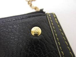 LOUISVUITTONルイヴィトンスハリポシェットクレコインケース小銭入れキーリングブラックゴールド金具M91824【中古】