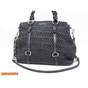 miu miu Miu Miu 2WAY बैग टोट बैग कंधे की थैली शॉपिंग बैग पट्टा NAPPA CLOQUET लेदर के साथ काले RN0653 [इस्तेमाल किया]