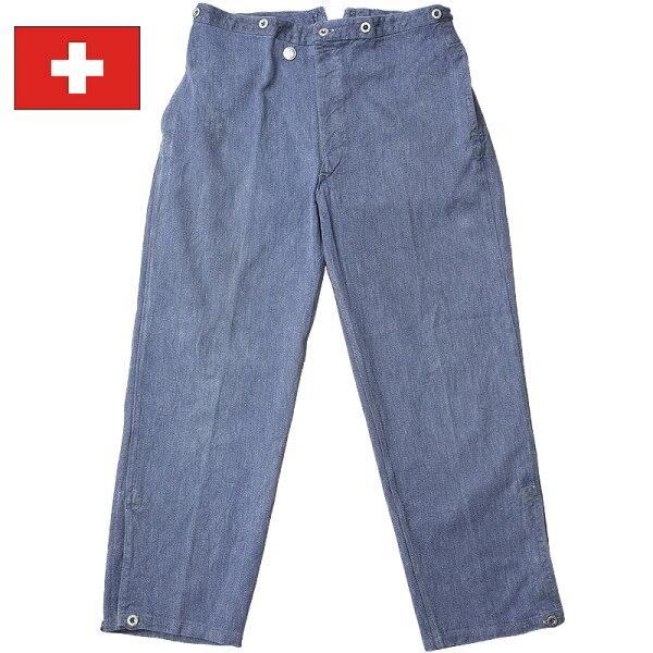 スイス軍デニムパンツバックベルトタイプUSED ブルー オーバーパンツメンズズボンシンチバック実物