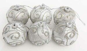 7cmクリスマス柄入ボール6個セット銀