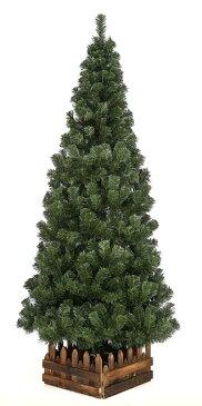 210cmスリム濃緑 品質保証高級ツリー木枠付【クリスマスツリー スリム】